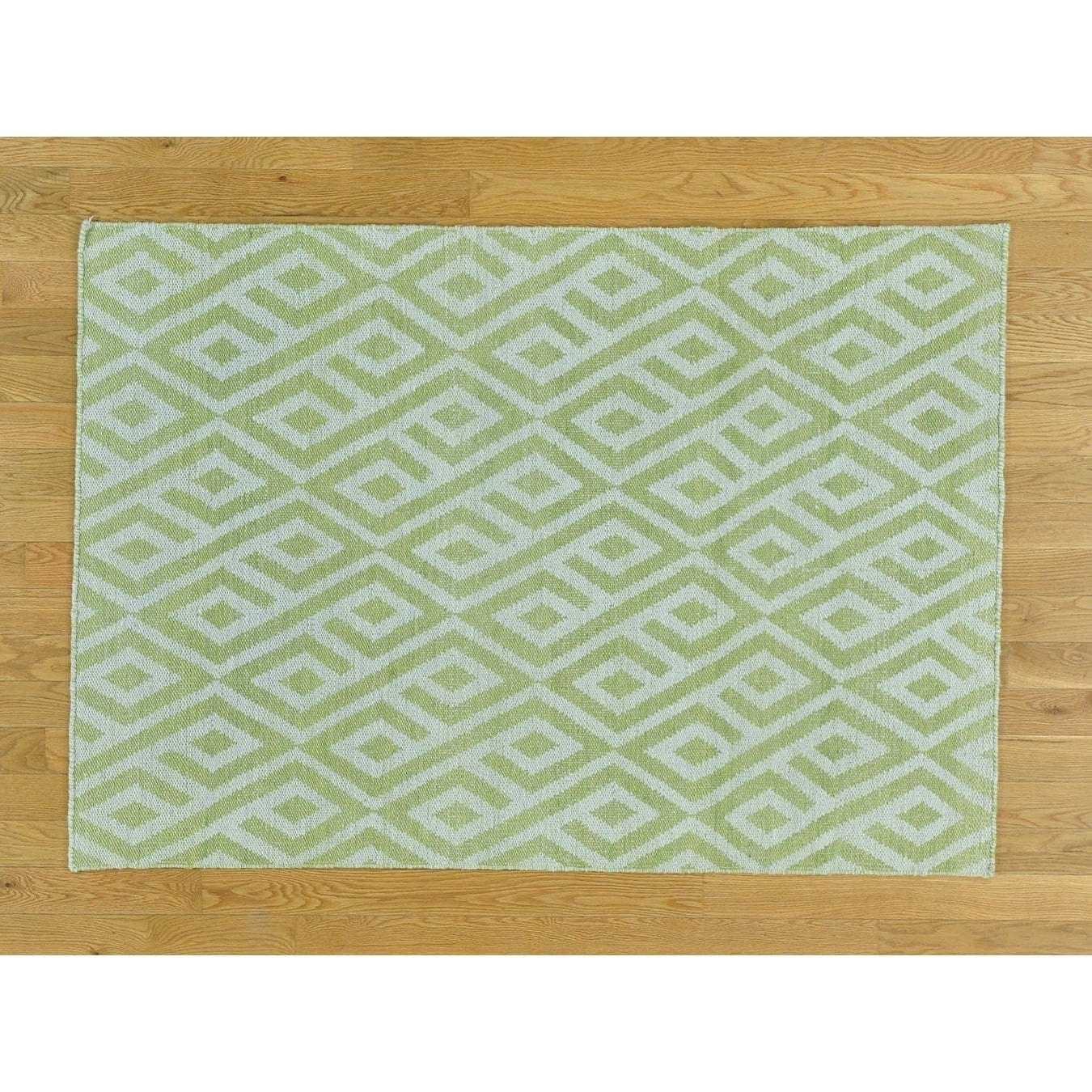 Hand Knotted Green Flat Weave with Cotton Oriental Rug - 39 X 55
