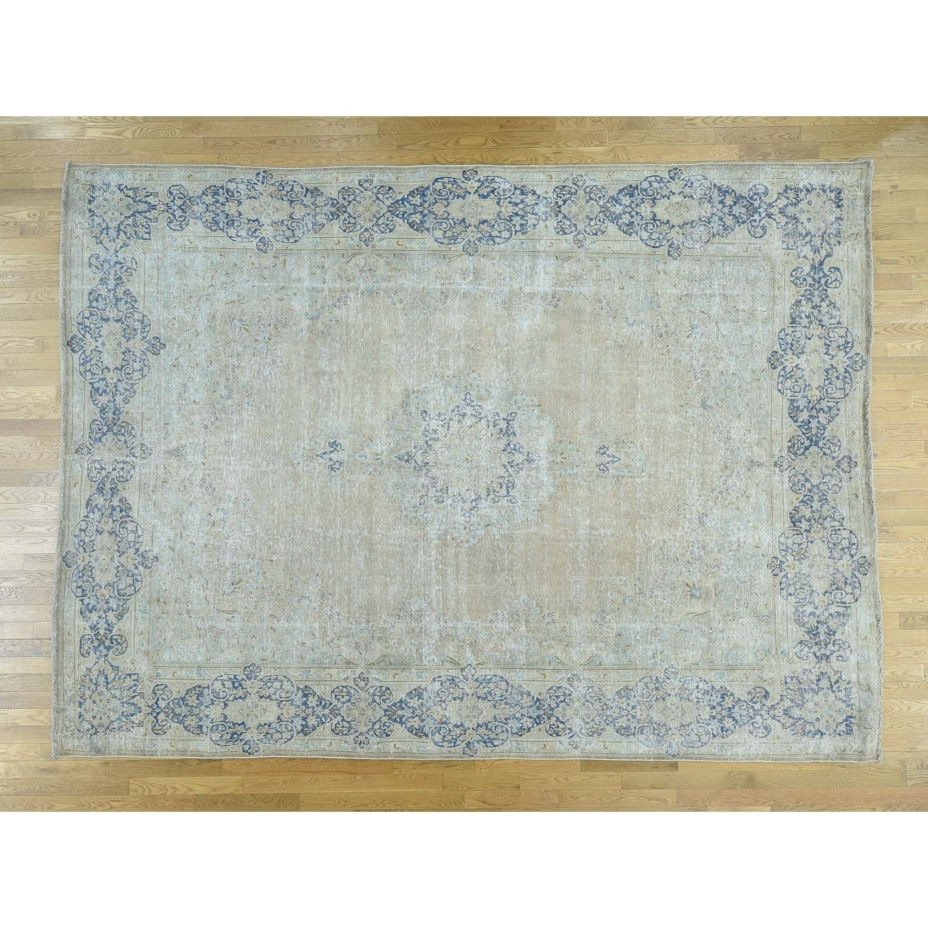 Hand Knotted Beige White Wash Vintage & Silver Wash with Wool Oriental Rug - 98 x 132