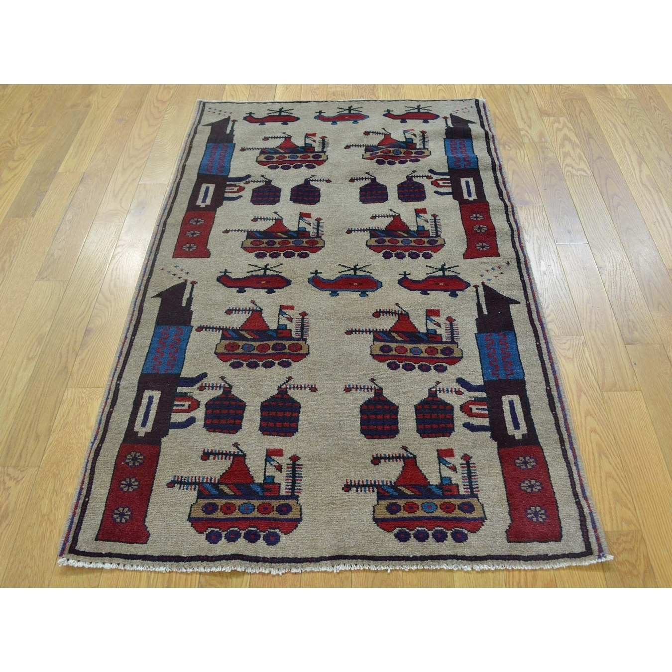 Hand Knotted Beige Tribal & Geometric with Wool Oriental Rug - 3 x 49