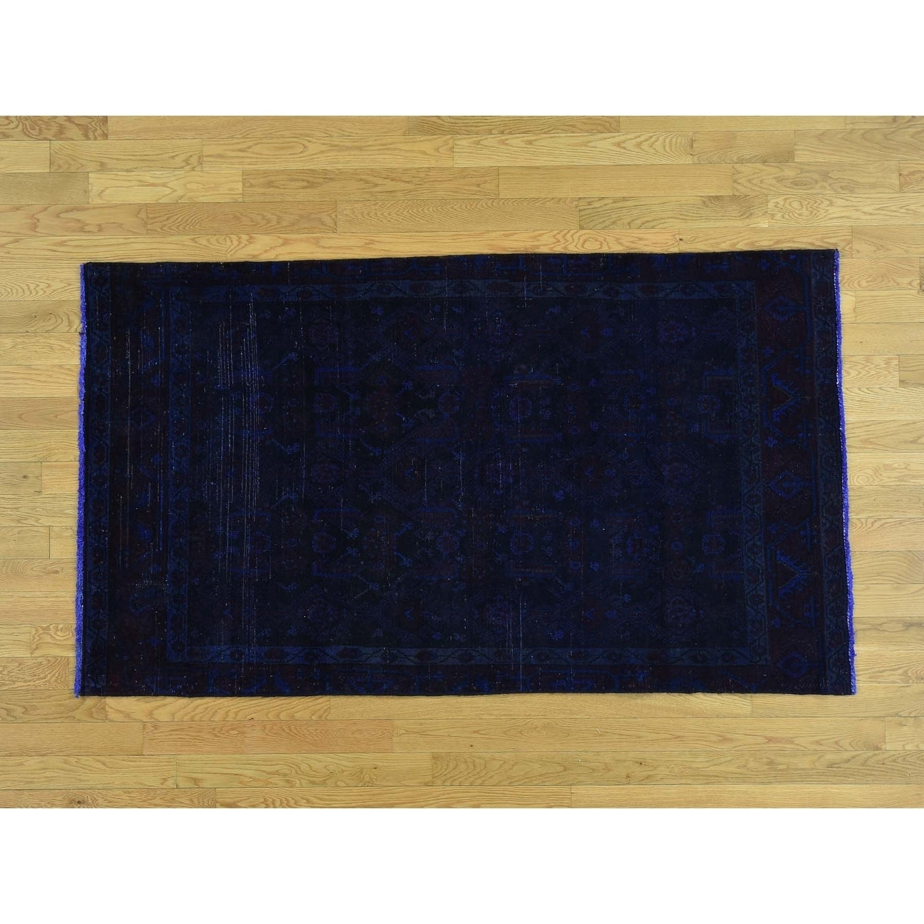 Hand Knotted Blue Overdyed & Vintage with Wool Oriental Rug - 38 x 64