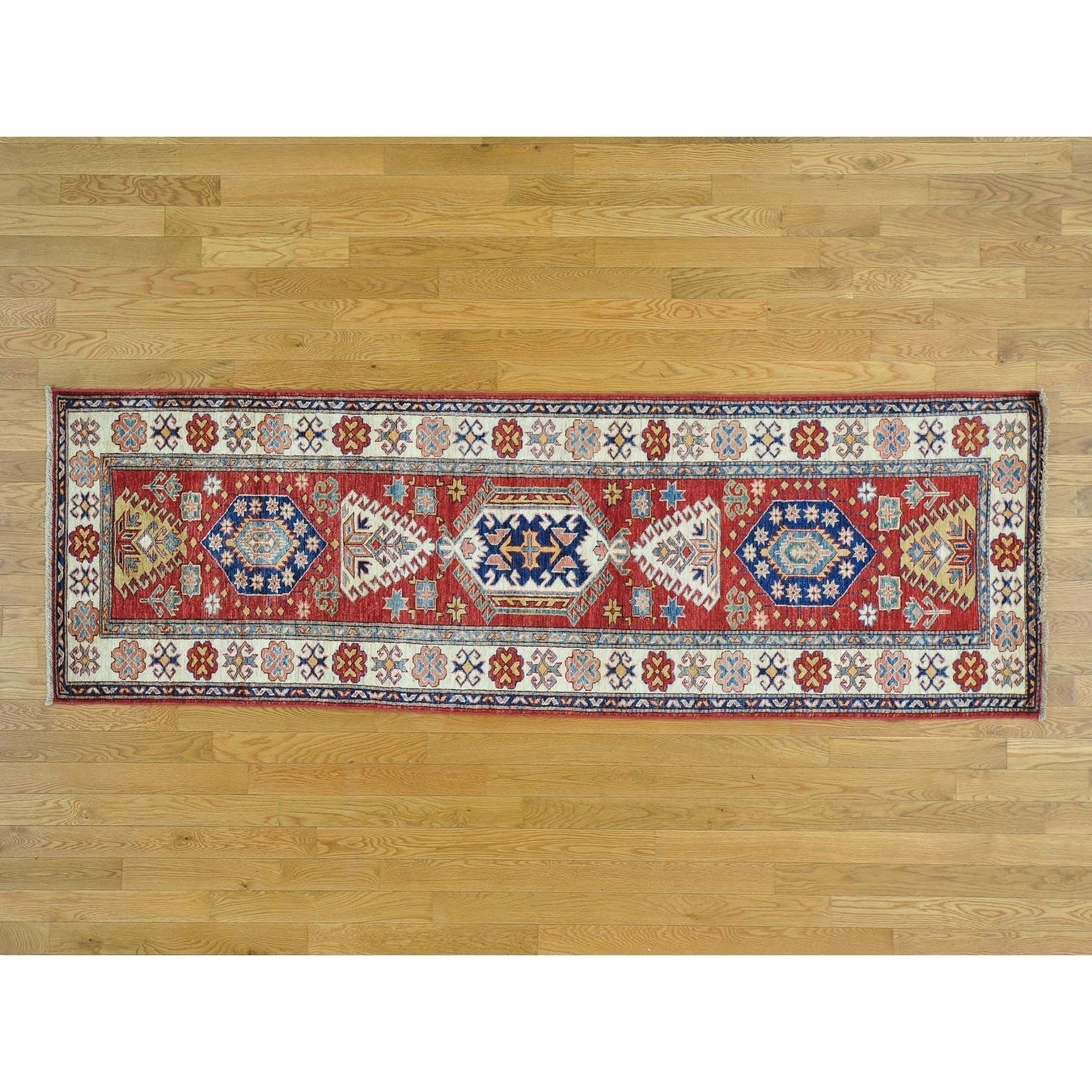 Hand Knotted Red Kazak with Wool Oriental Rug - 29 x 88