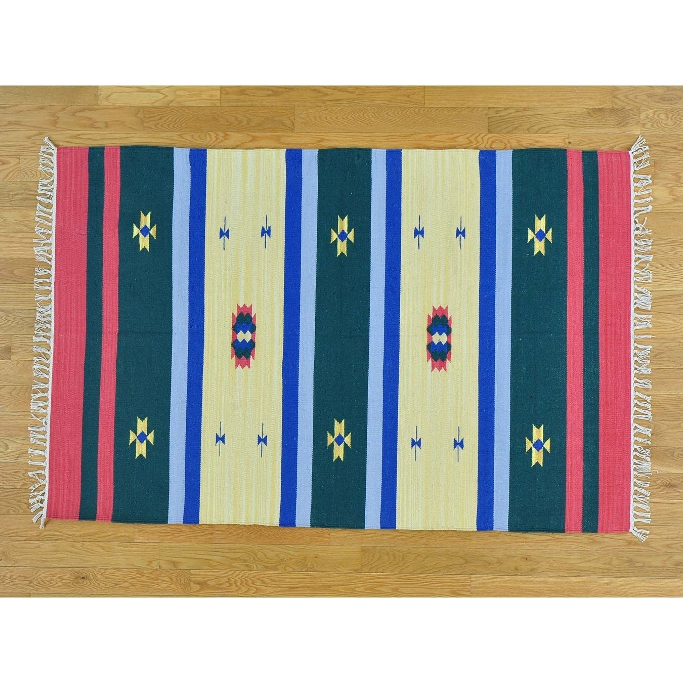 Hand Knotted Multicolored Flat Weave with Cotton Oriental Rug - 4 x 6