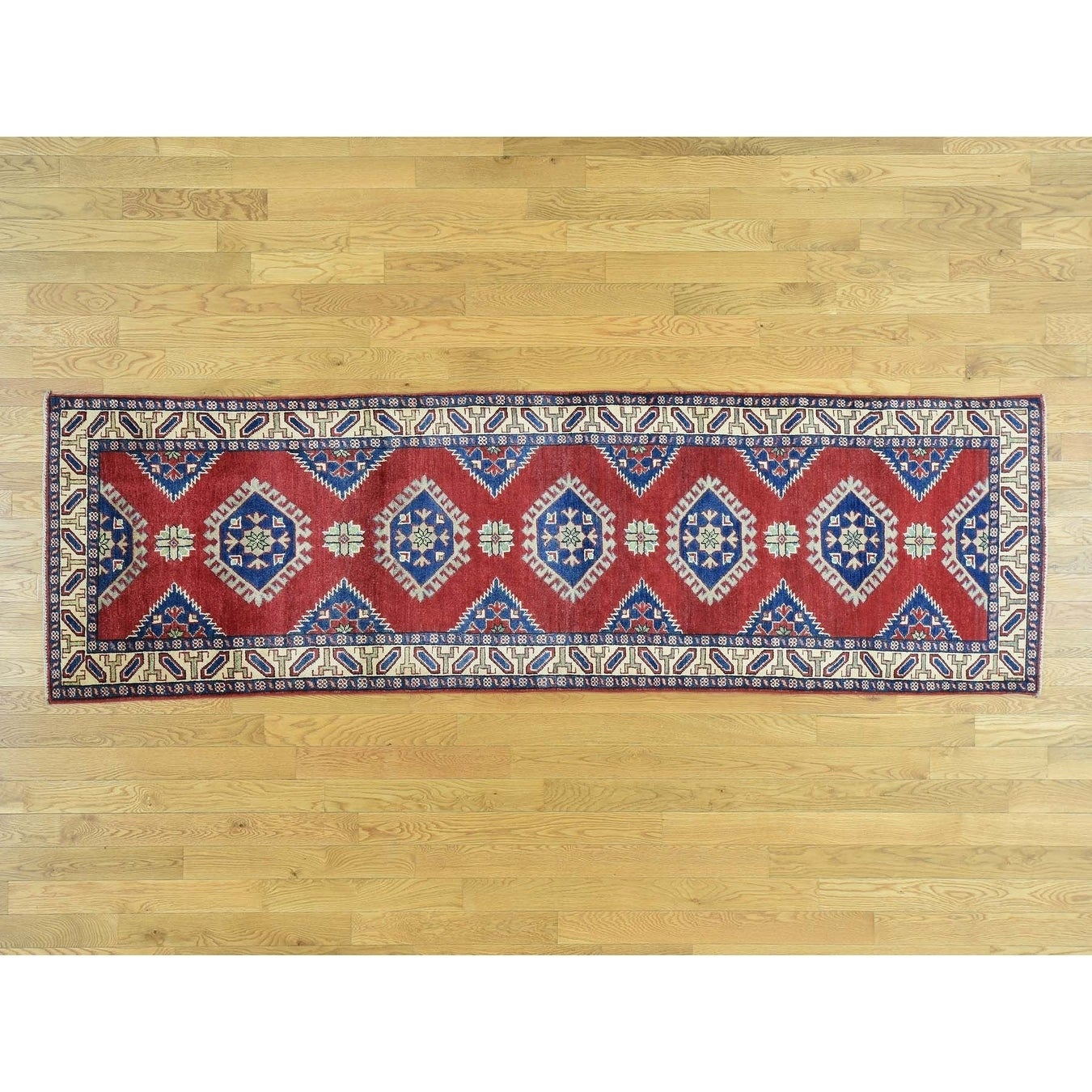 Hand Knotted Red Kazak with Wool Oriental Rug - 210 x 98