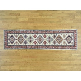 Hand Knotted Ivory Kazak with Wool Oriental Rug - 2'7 x 9'7