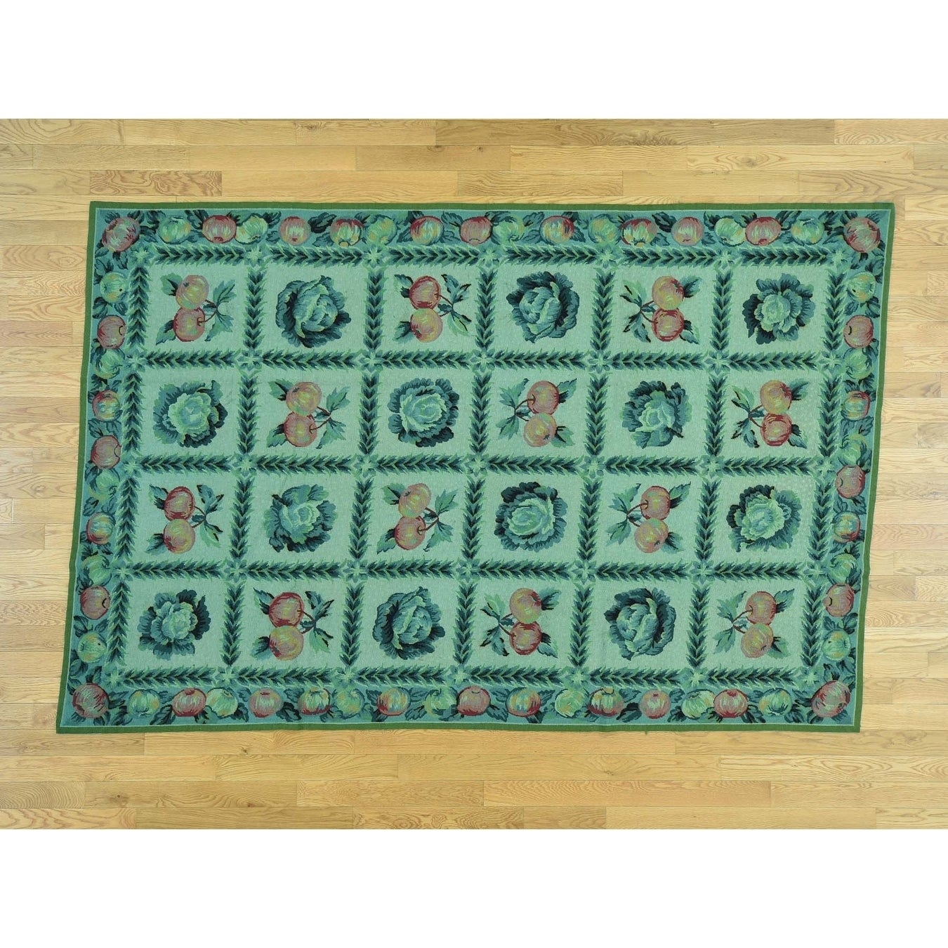 Hand Knotted Green European with Wool Oriental Rug - 6 x 9