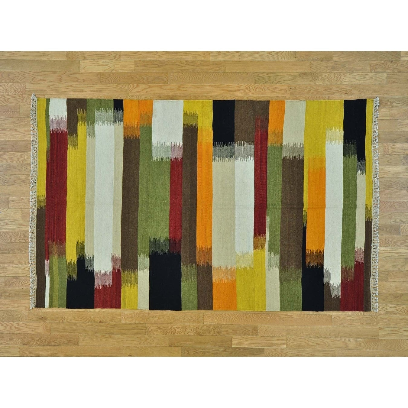 Hand Knotted Multicolored Flat Weave with Wool Oriental Rug - 5 x 8