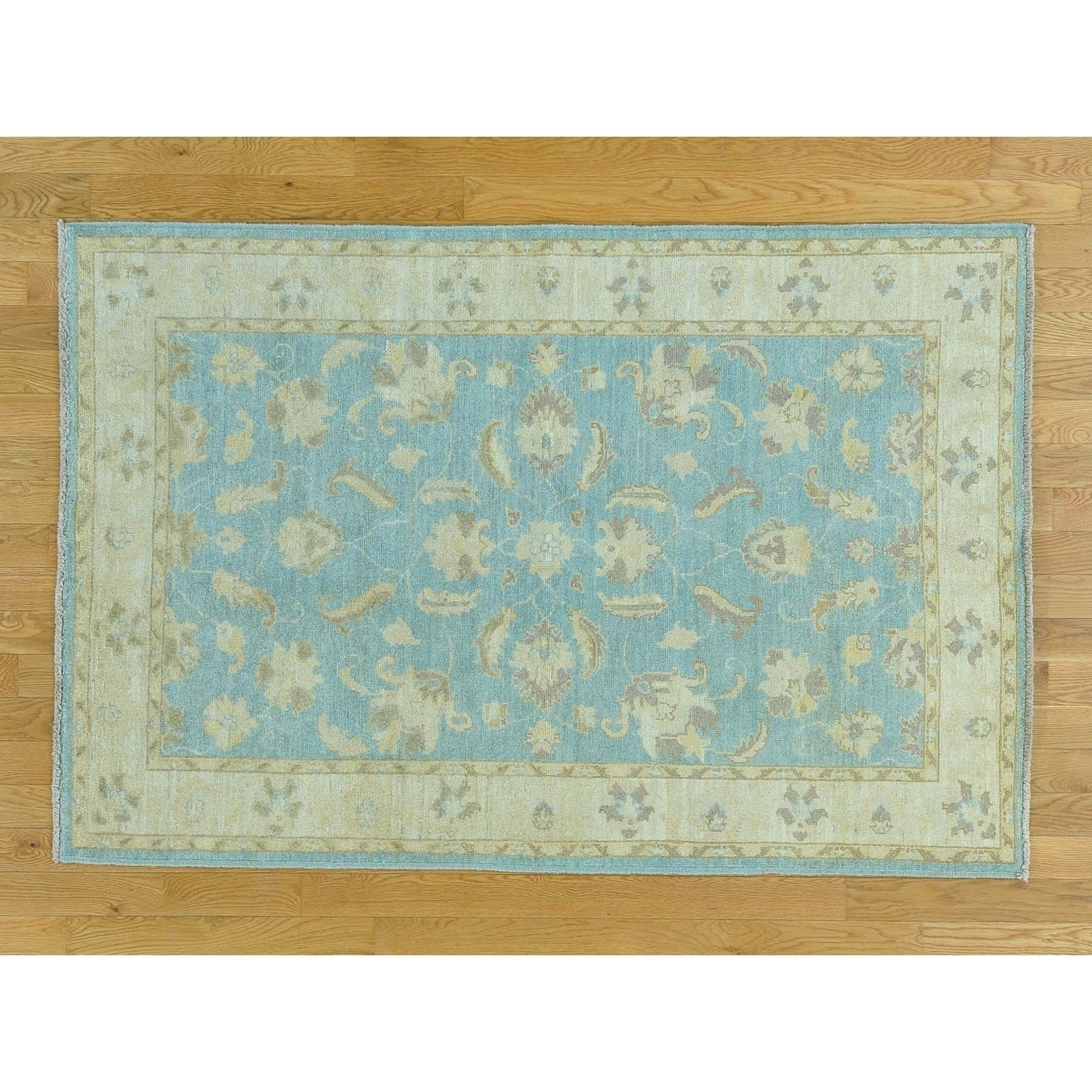 Hand Knotted Blue Oushak And Peshawar with Wool Oriental Rug - 4 x 6