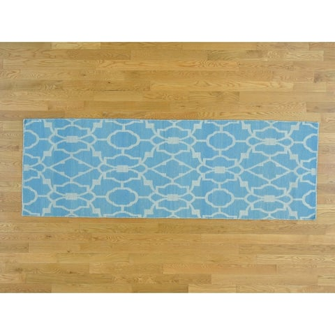 Hand Knotted Blue Flat Weave with Cotton Oriental Rug - 2'8 x 7'10