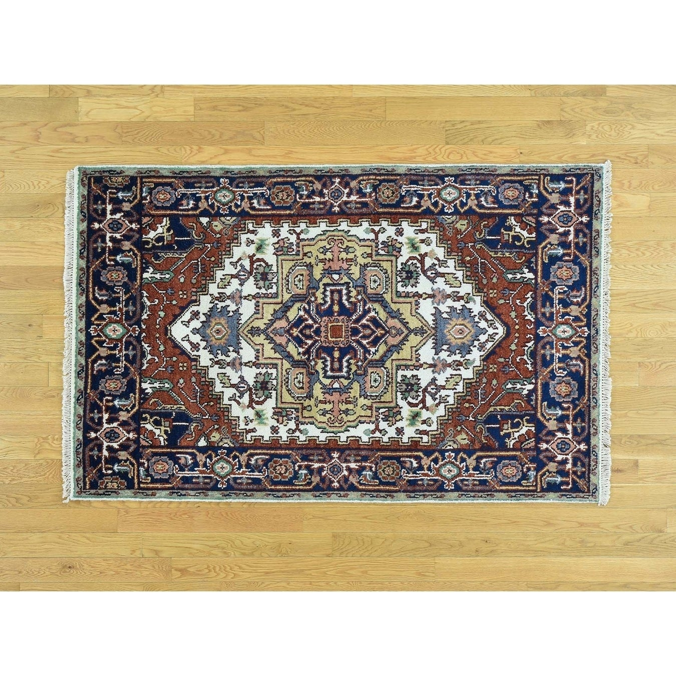 Hand Knotted Ivory Heriz with Wool Oriental Rug - 39 x 6