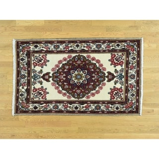 Hand Knotted Red Persian with Wool Oriental Rug - 3'6 x 5'9