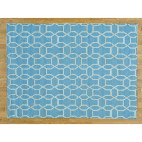 Hand Knotted Blue Flat Weave with Cotton Oriental Rug - 5'4 x 7'3