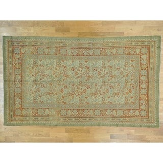 Hand Knotted Beige Antique with Wool Oriental Rug - 8'7 x 14'9