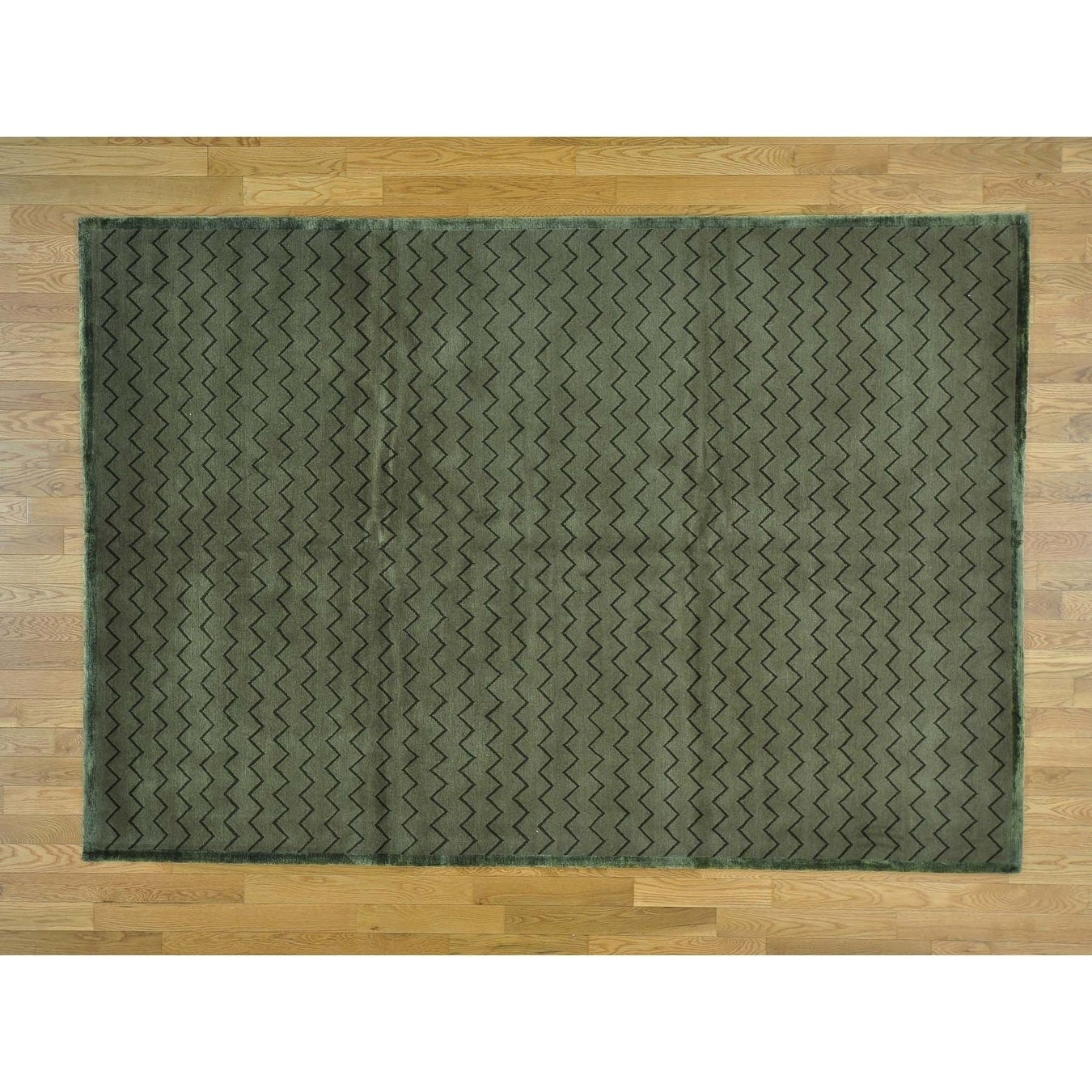 Hand Knotted Grey Clearance with Wool & Silk Oriental Rug - 62 x 9