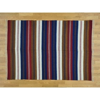 Hand Knotted Multicolored Flat Weave with Wool Oriental Rug - 5'8 x 8'
