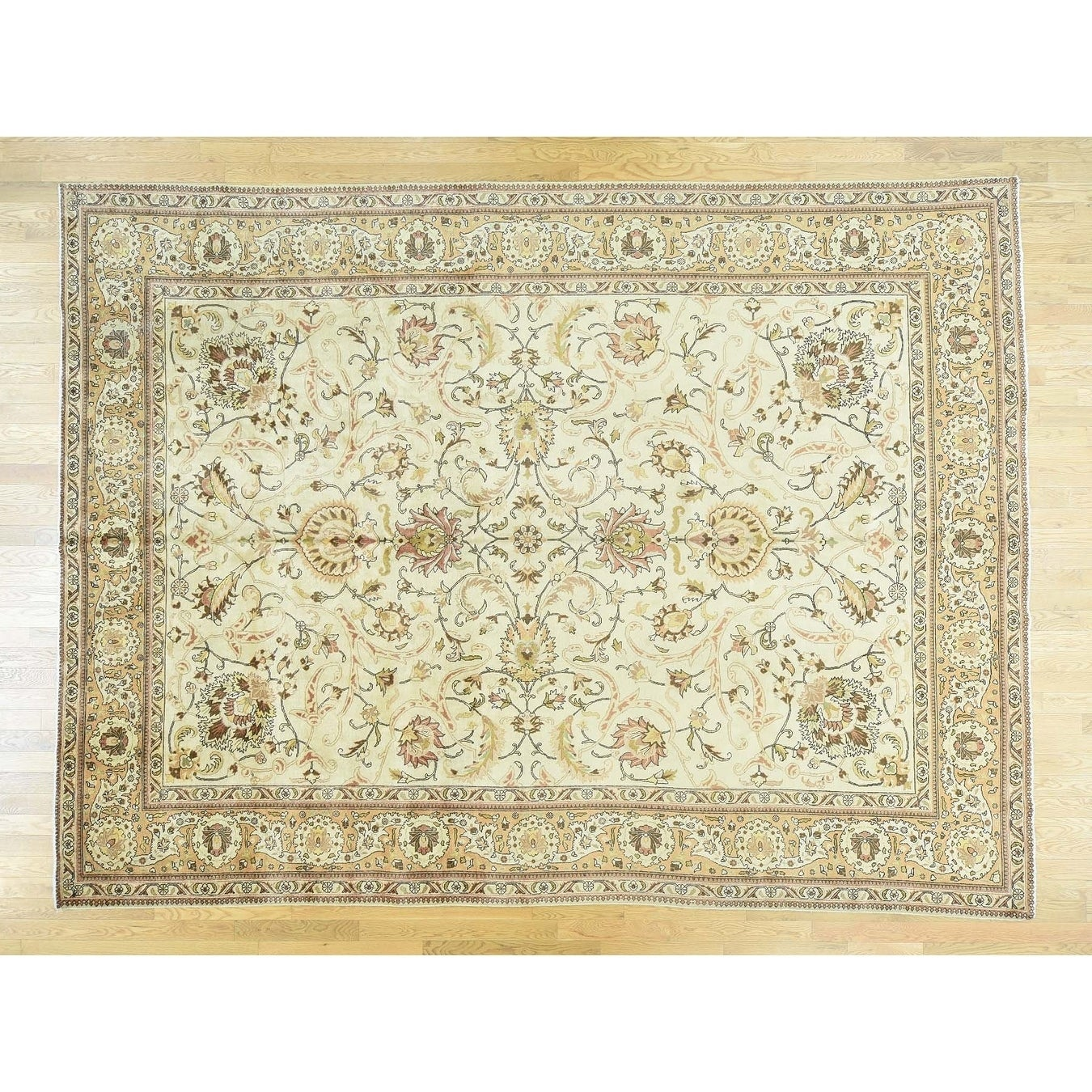 Hand Knotted Ivory Antique with Wool Oriental Rug - 98 x 1210