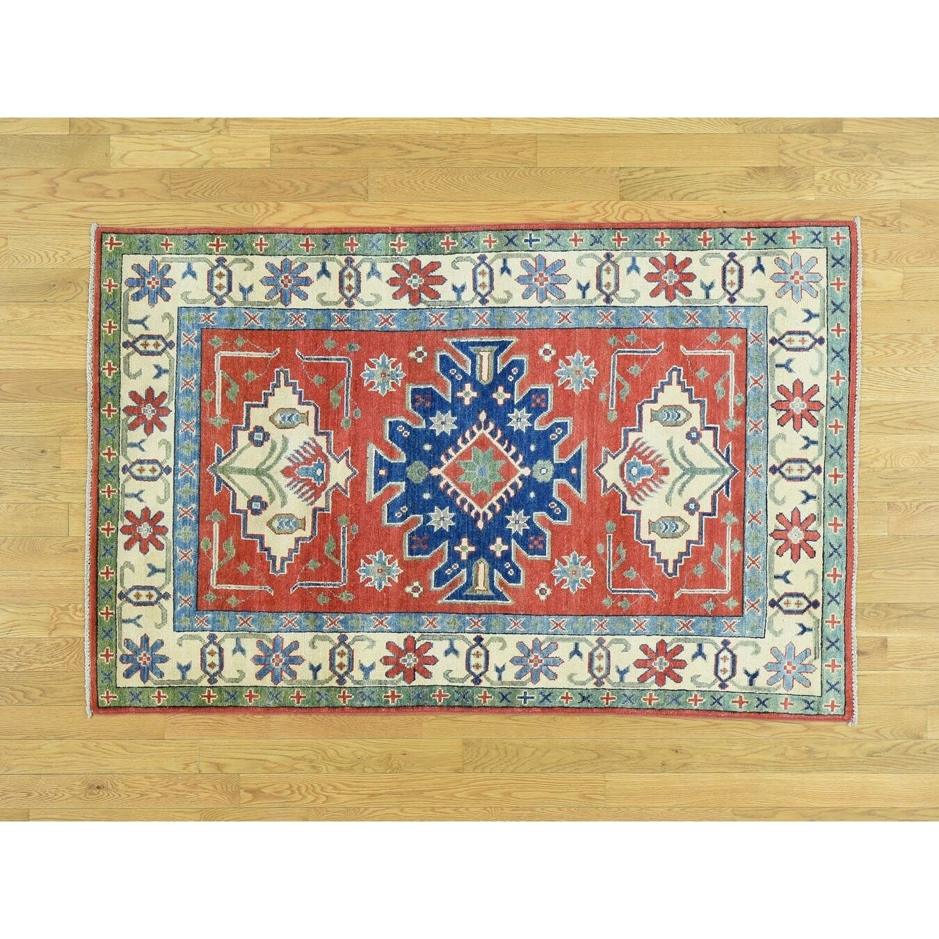 Hand Knotted Red Kazak with Wool Oriental Rug - 4 x 61