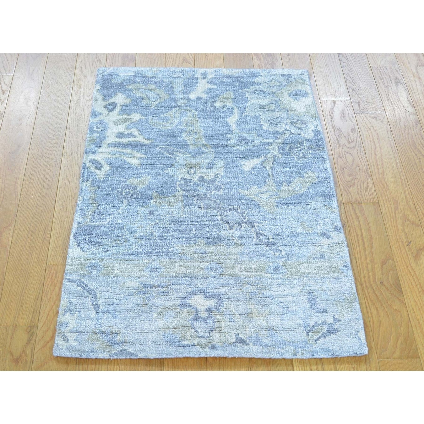Hand Knotted Blue Oushak And Peshawar with Art Silk Oriental Rug - 2 x 3