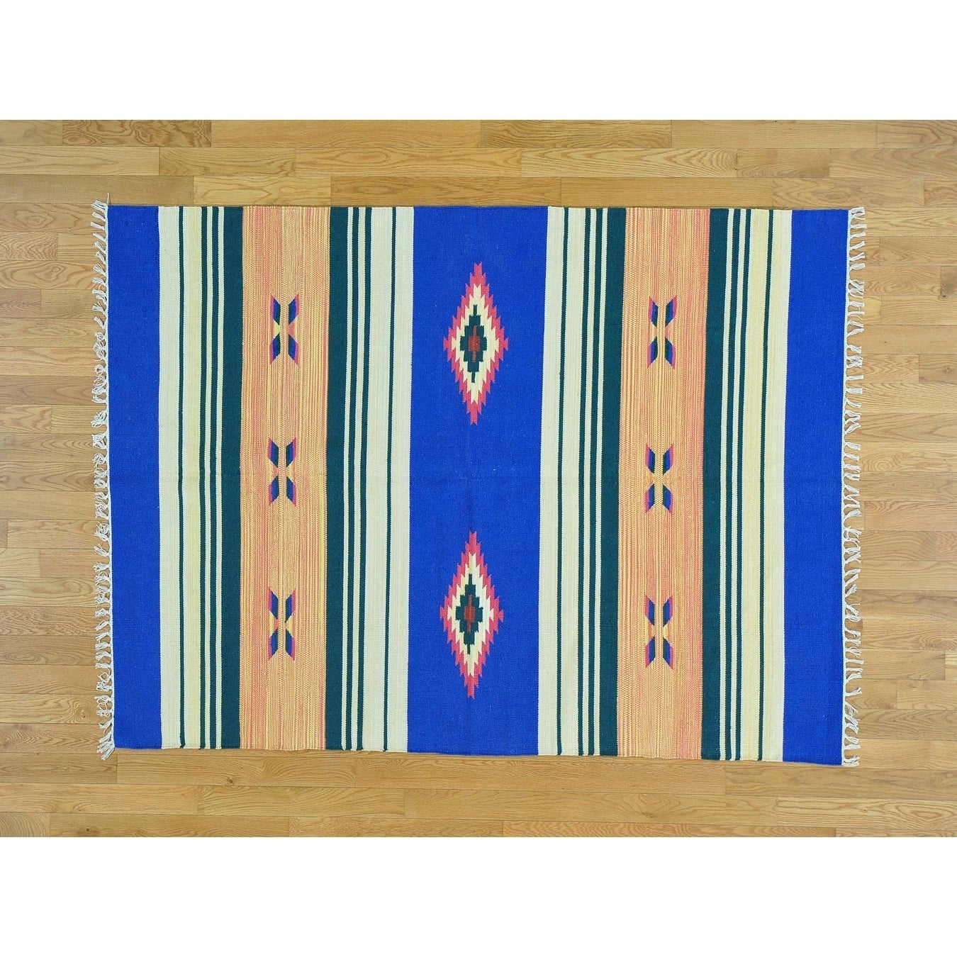 Hand Knotted Multicolored Flat Weave with Cotton Oriental Rug - 51 x 7