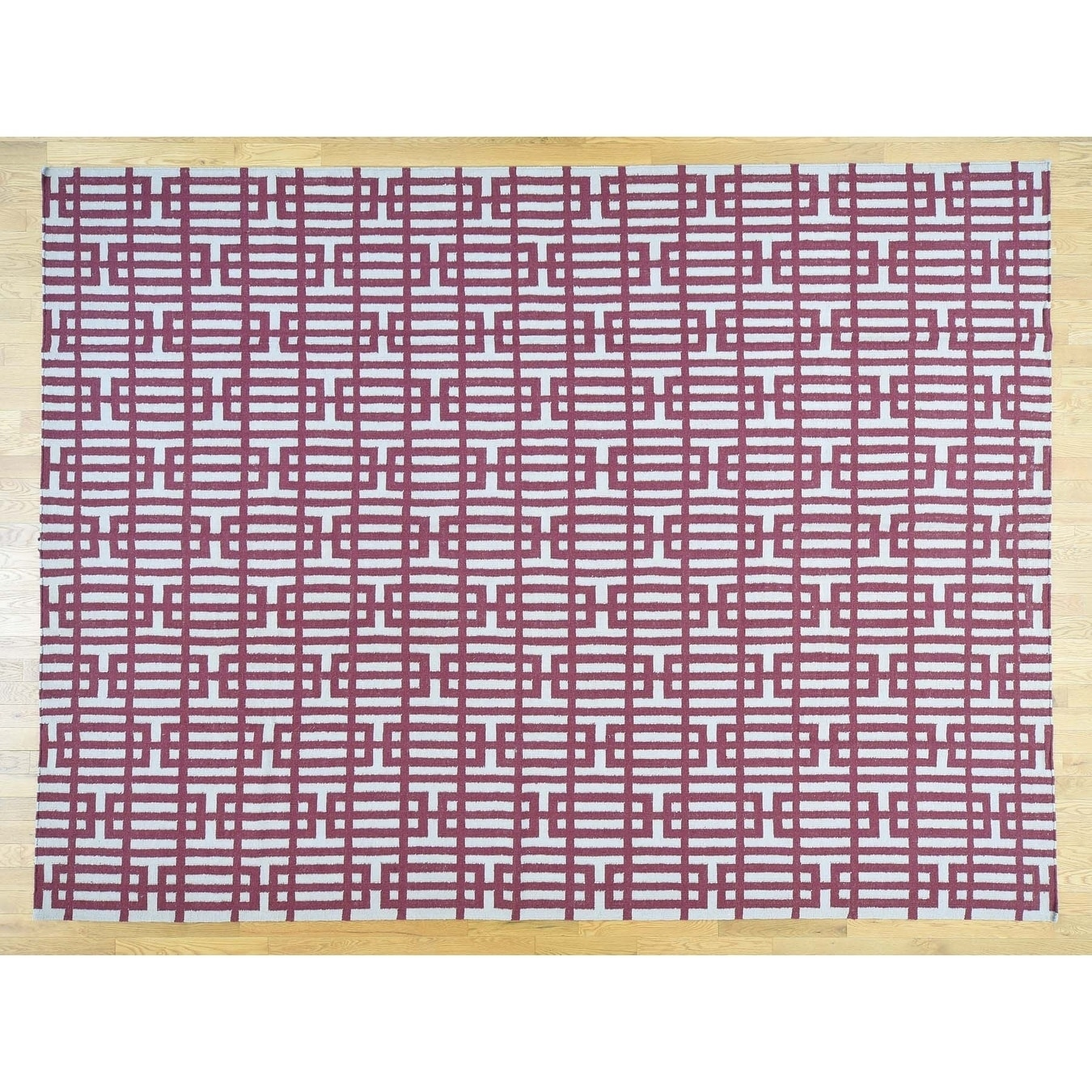 Hand Knotted Red Flat Weave with Wool Oriental Rug - 91 x 122