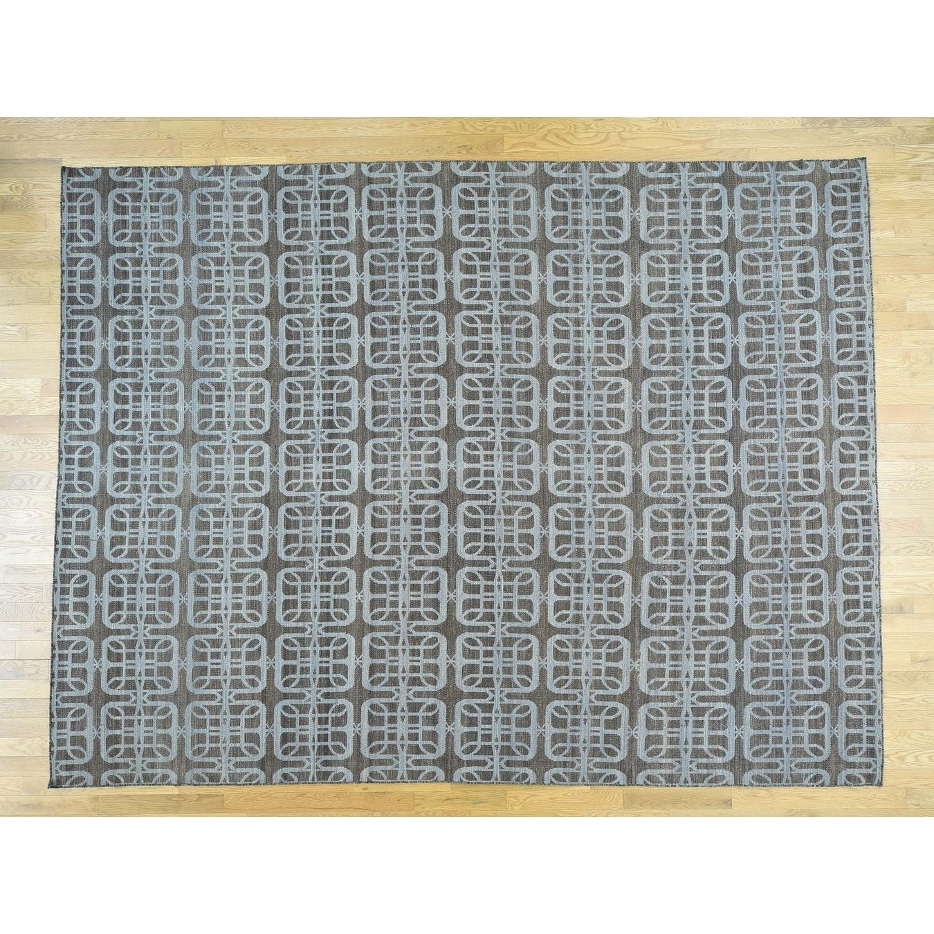 Hand Knotted Blue Flat Weave with Wool Oriental Rug