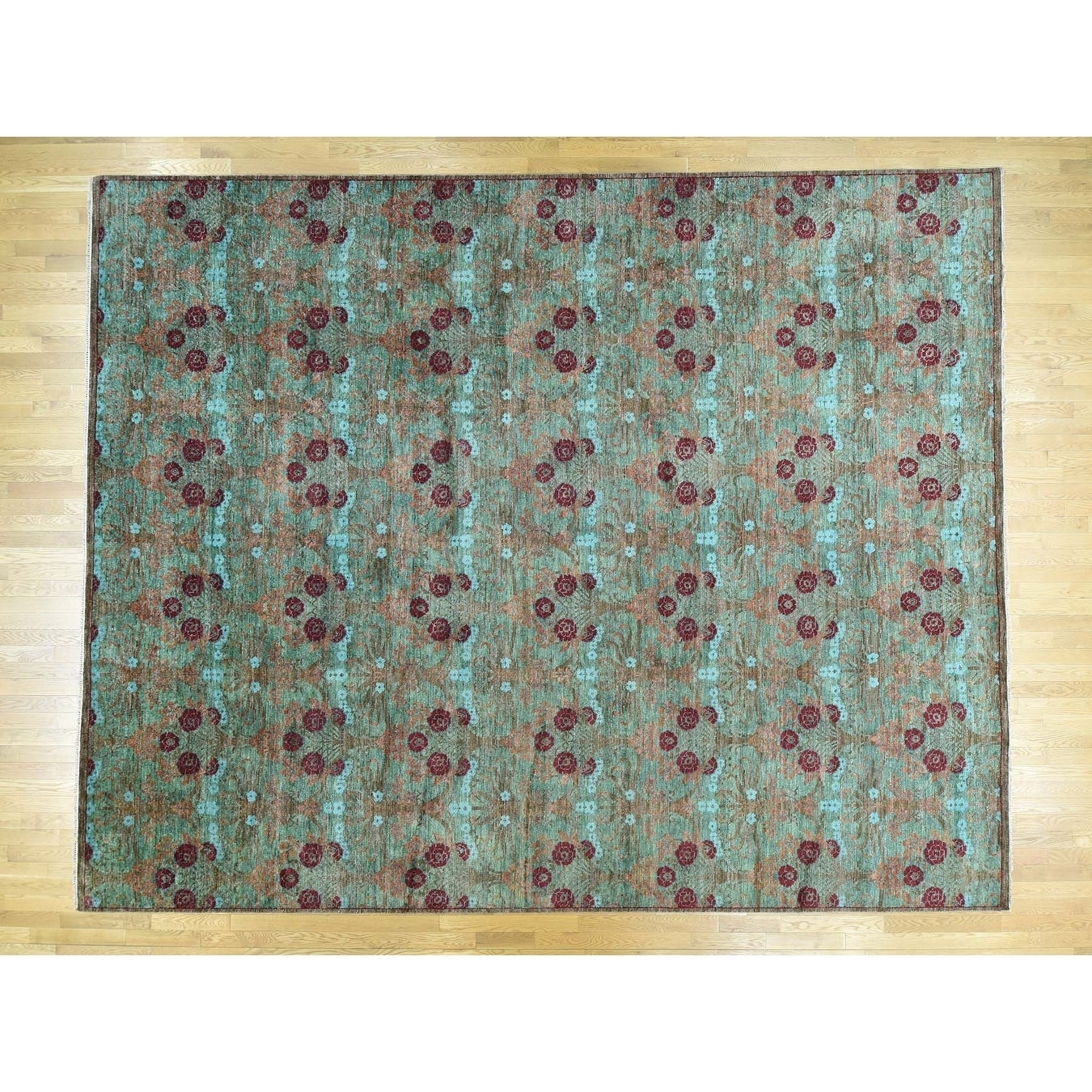 Hand Knotted Green Arts And Crafts with Wool Oriental Rug