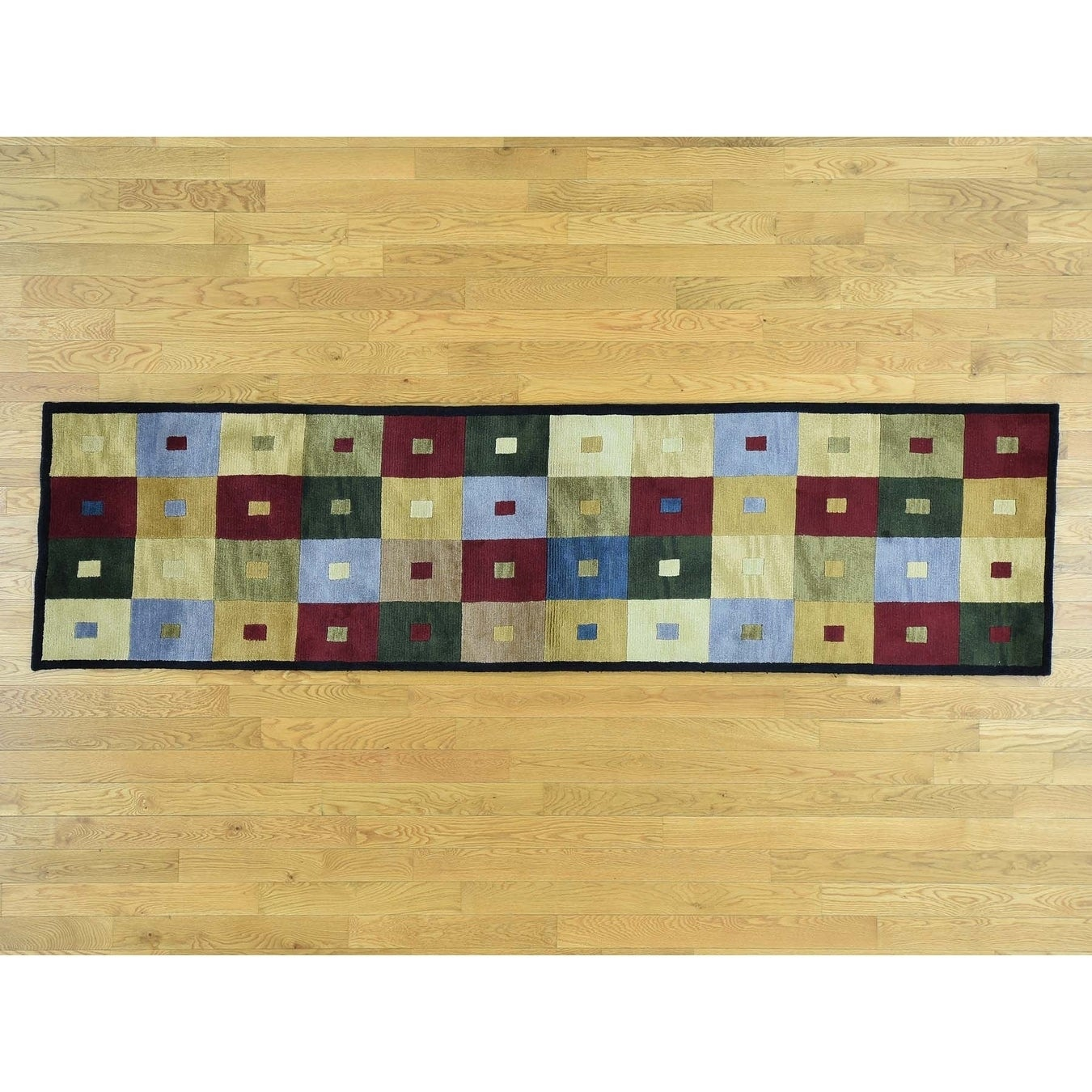 Hand Knotted Multicolored Clearance with Wool Oriental Rug - 27 x 99