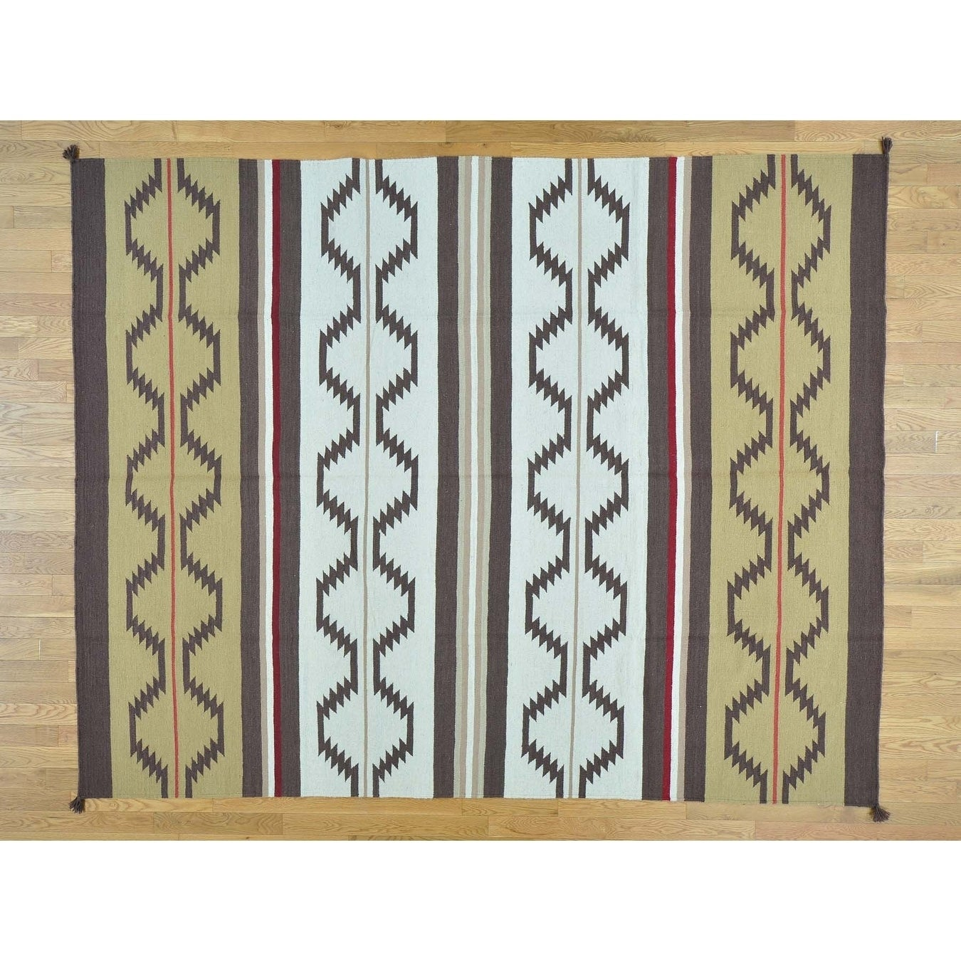 Hand Knotted Multicolored Flat Weave with Wool Oriental Rug - 8 x 101