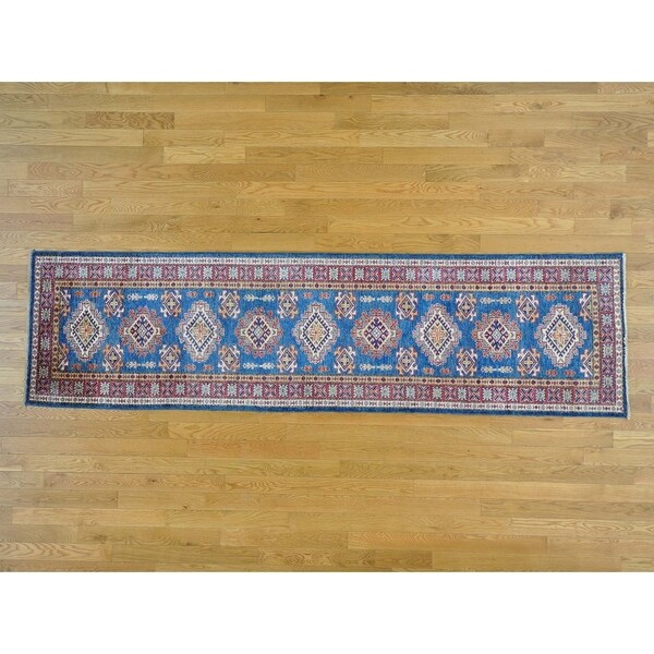 Hand Knotted Blue Kazak with Wool Oriental Rug - 2'5 x 9'3