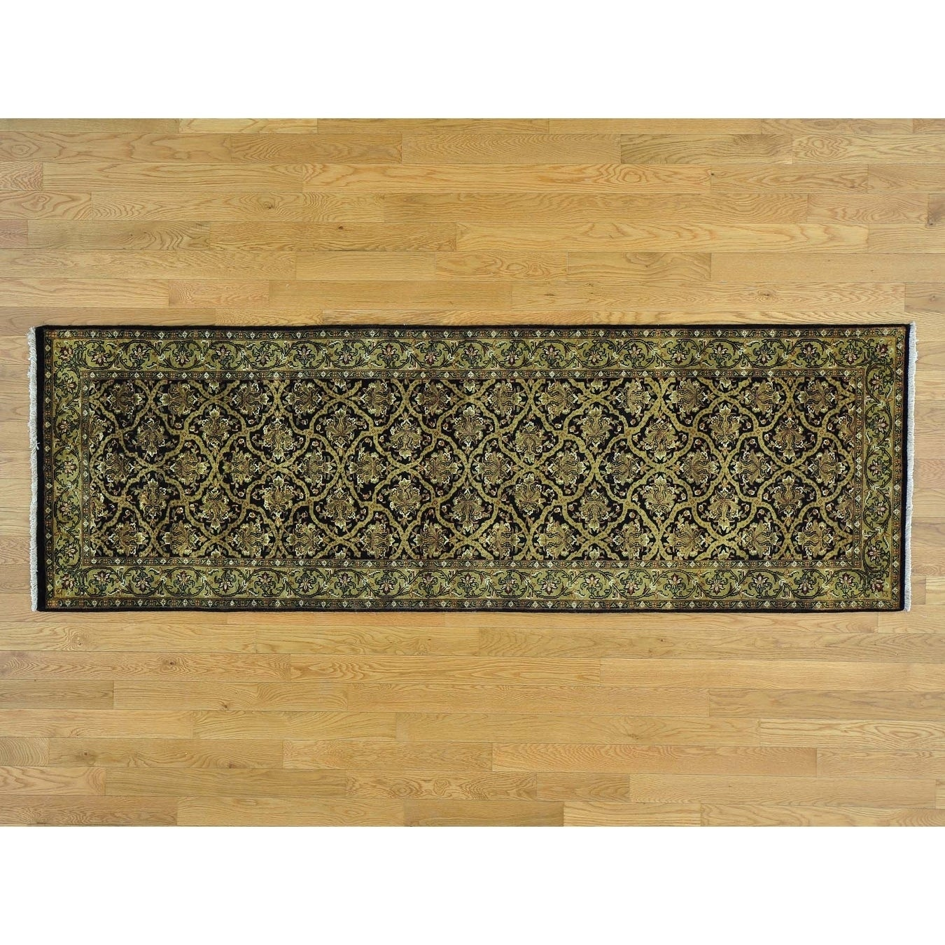 Hand Knotted Black Fine Oriental with Wool & Silk Oriental Rug - 28 x 82