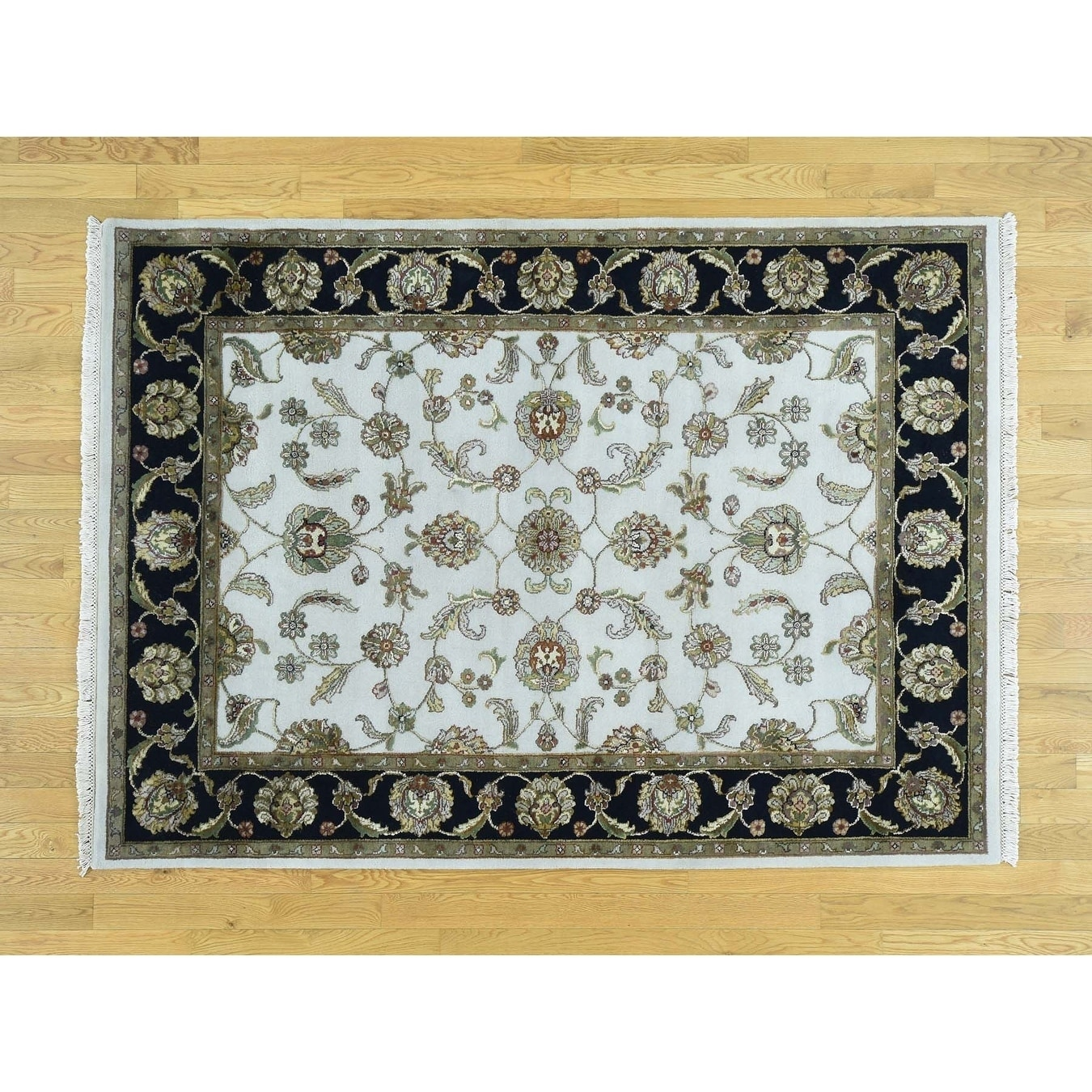 Hand Knotted Ivory Rajasthan with Wool & Silk Oriental Rug - 51 x 7