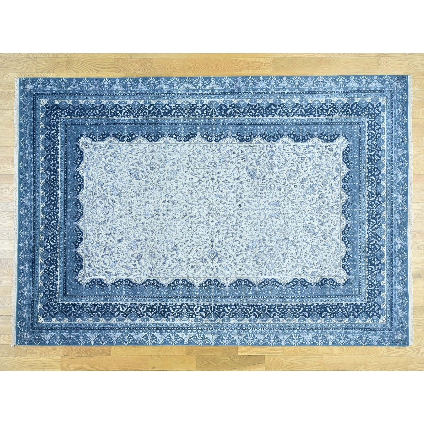 Hand Knotted Ivory Fine Oriental with Wool & Silk Oriental Rug - 710 x 115