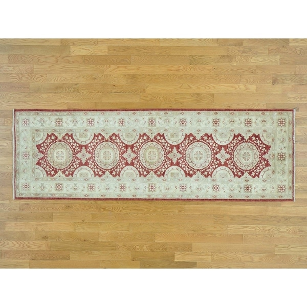 Hand Knotted Red Oushak And Peshawar with Wool Oriental Rug