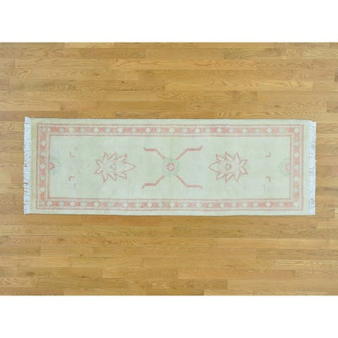 Hand Knotted Ivory Oushak and Peshawar with Wool Oriental Rug - 2'6 x 7'4