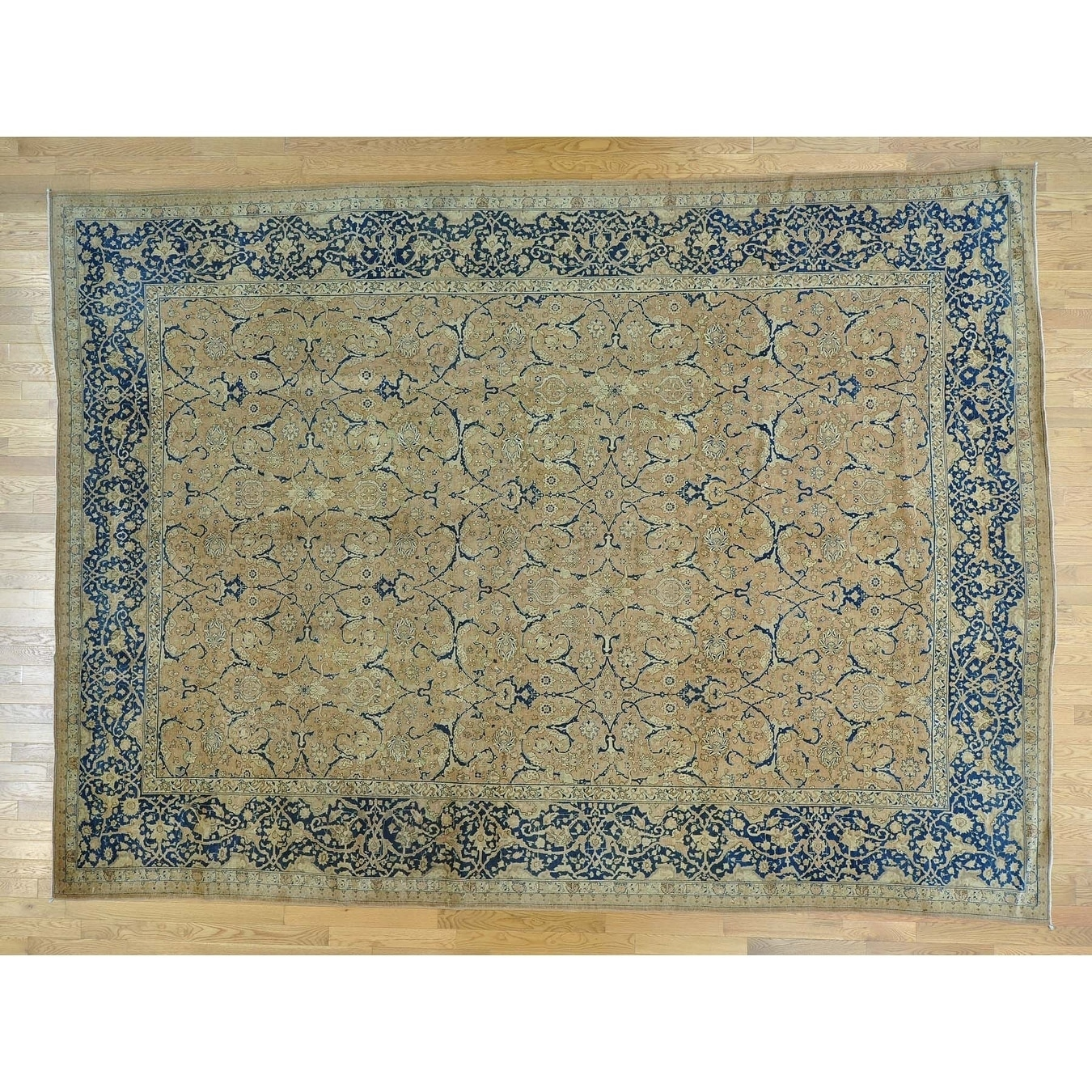 Hand Knotted Beige Persian with Wool Oriental Rug - 104 x 14
