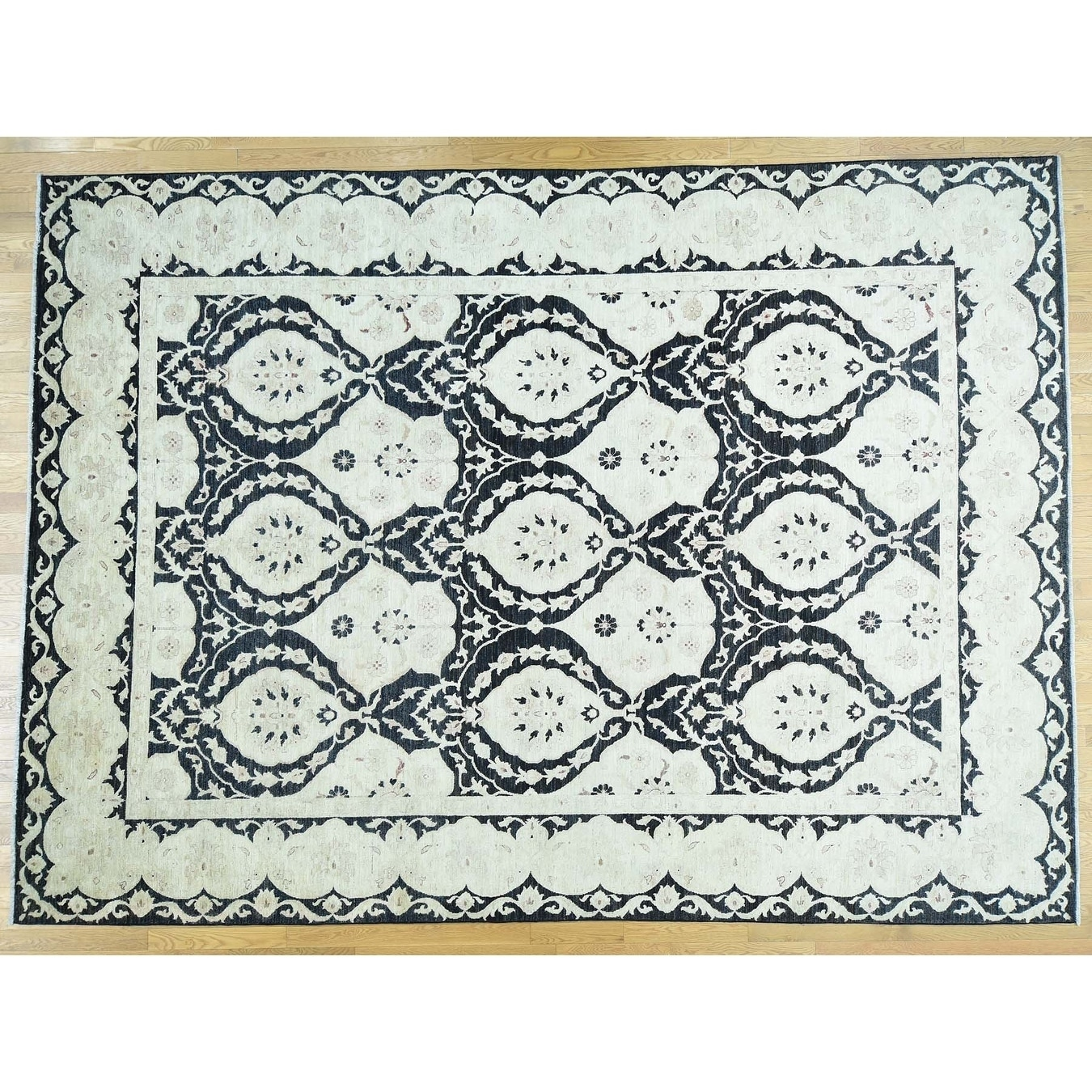 Hand Knotted Black Oushak And Peshawar with Wool Oriental Rug - 10 x 138