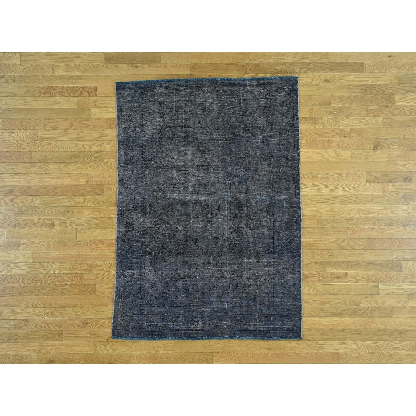Hand Knotted Blue Overdyed & Vintage with Wool Oriental Rug - 46 x 63