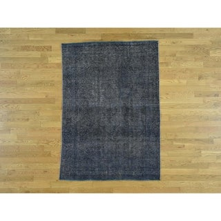 Hand Knotted Blue Overdyed & Vintage with Wool Oriental Rug - 4'6 x 6'3