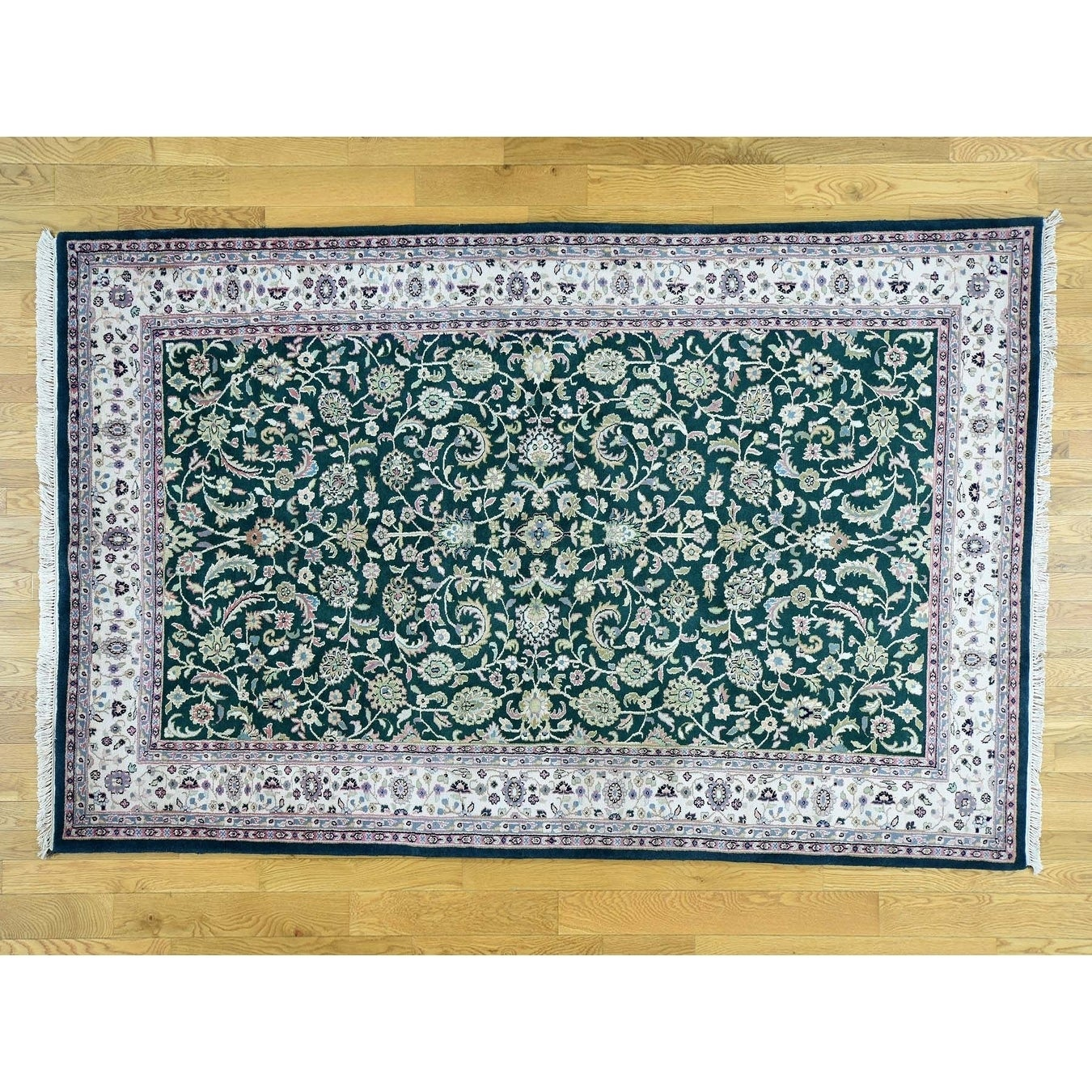 Hand Knotted Green Clearance with Wool Oriental Rug - 6 x 93