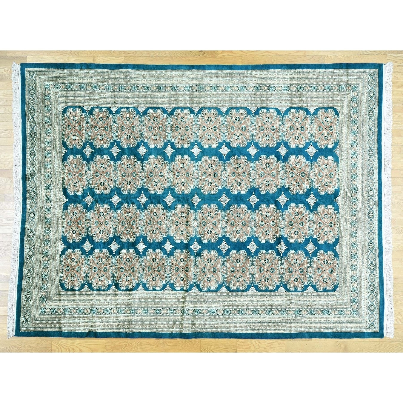 Hand Knotted Teal Clearance with Wool Oriental Rug - 93 x 123