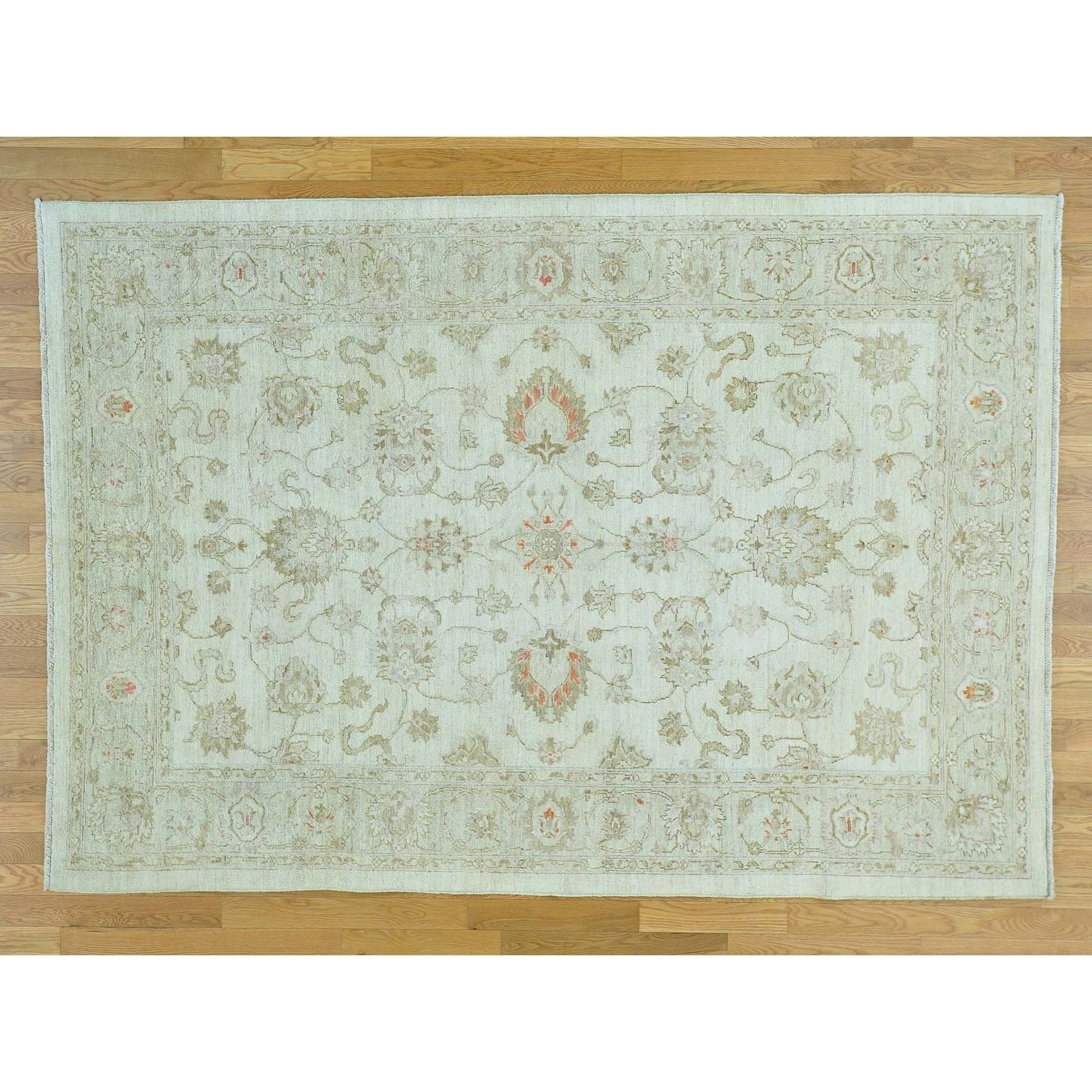 Hand Knotted Ivory Oushak And Peshawar with Wool Oriental Rug - 6 x 89