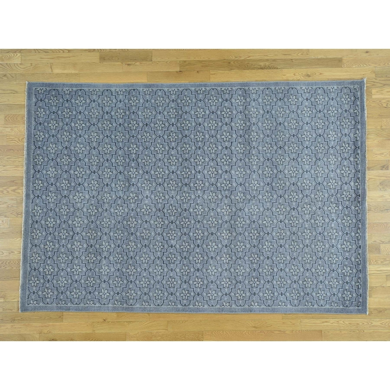 Hand Knotted Blue Oushak And Peshawar with Wool Oriental Rug - 89 x 1110