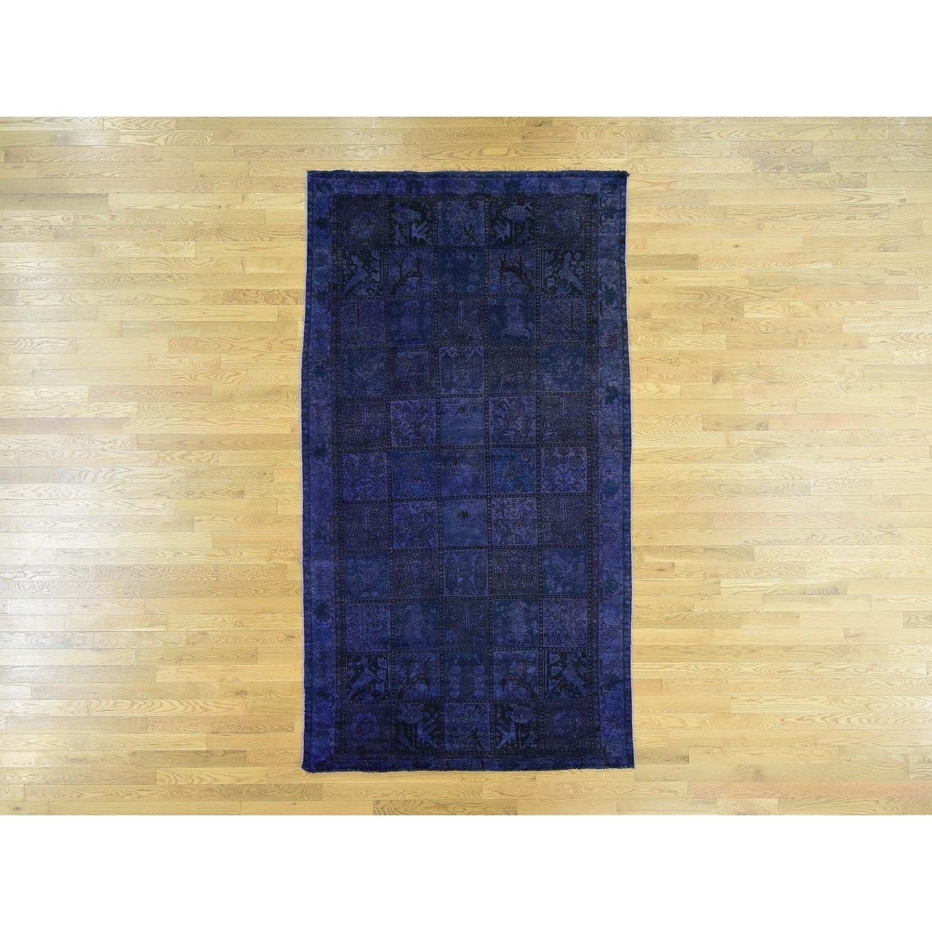 Hand Knotted Purple Overdyed & Vintage with Wool Oriental Rug - 56 x 10