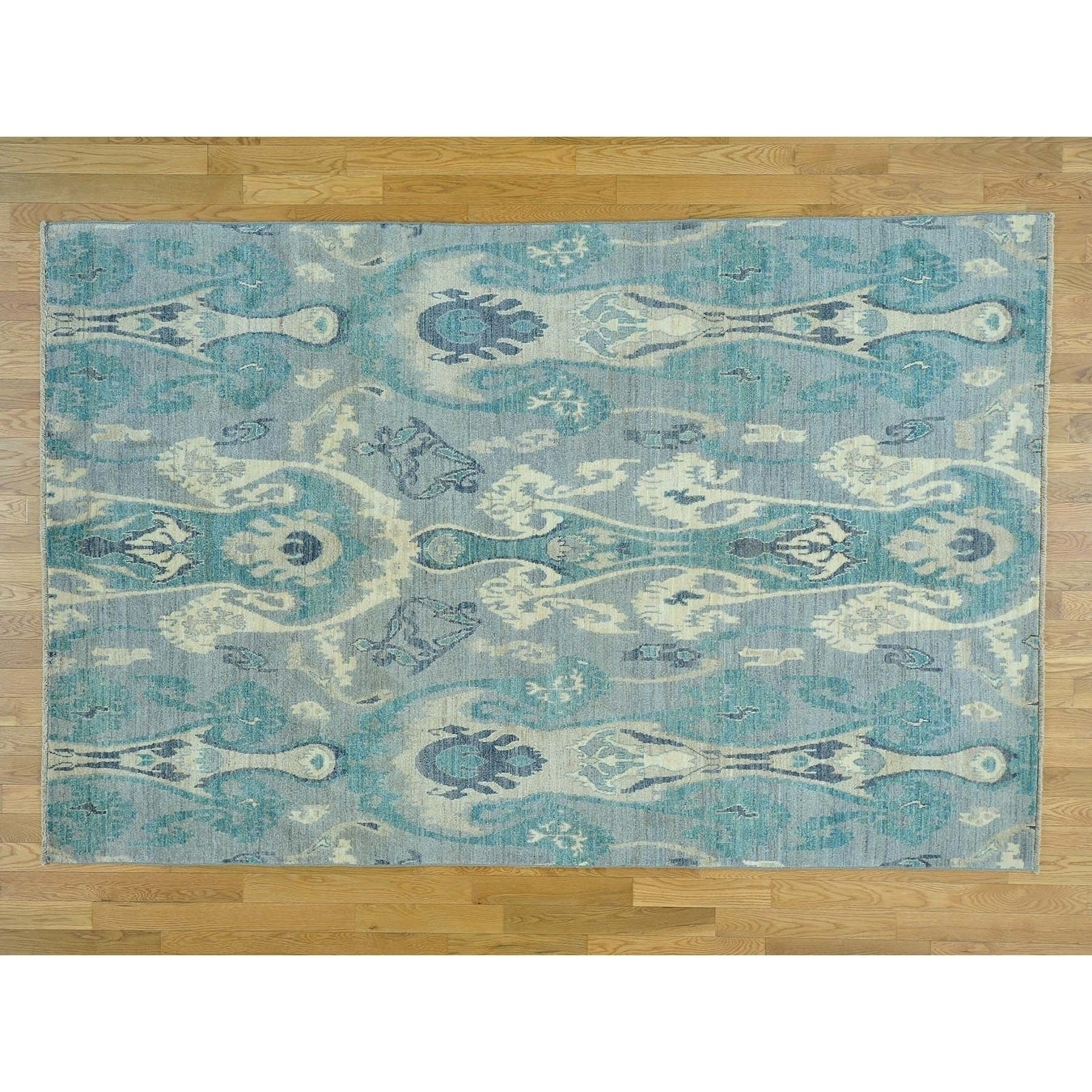 Hand Knotted Grey Ikat And Suzani Design with Wool Oriental Rug - 6 x 93
