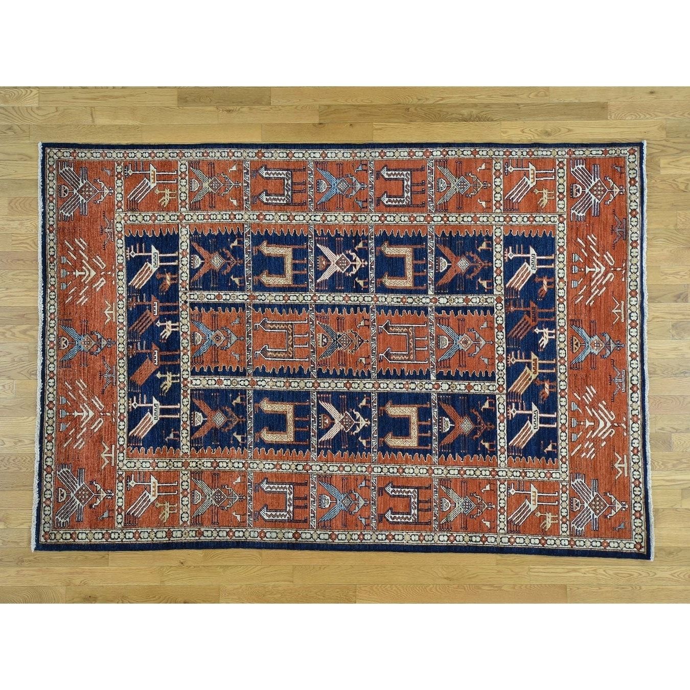Hand Knotted Blue Tribal & Geometric with Wool Oriental Rug - 61 x 9