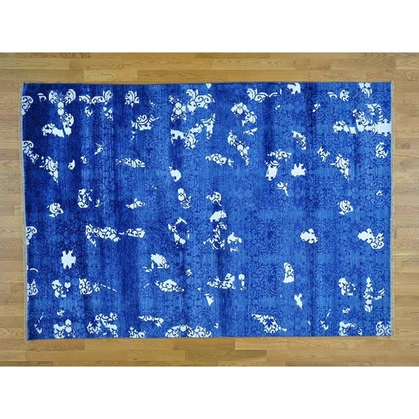 Hand Knotted Blue Modern & Contemporary with Art Silk Oriental Rug - 5' x 7'1