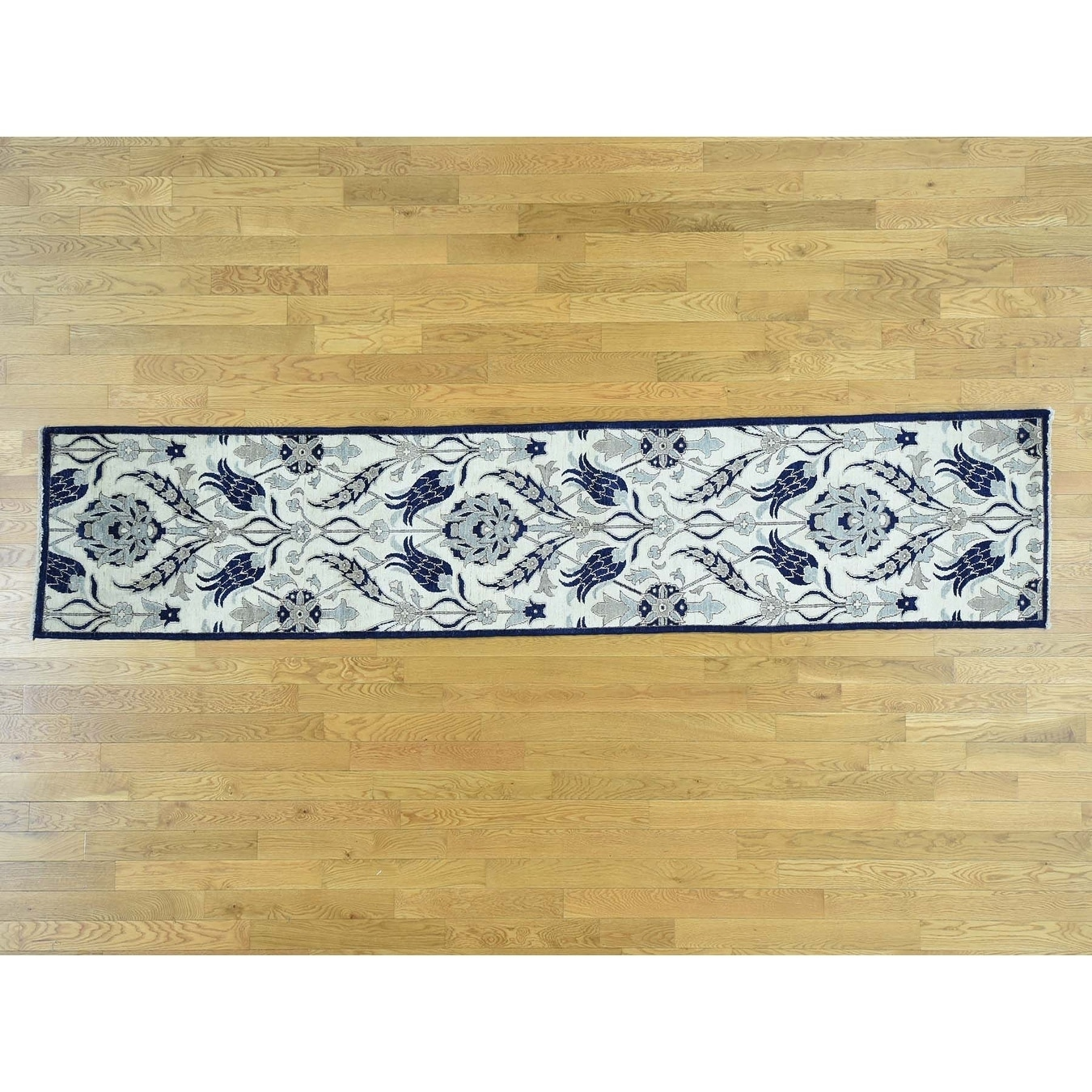 Hand Knotted Ivory Arts And Crafts with Wool Oriental Rug