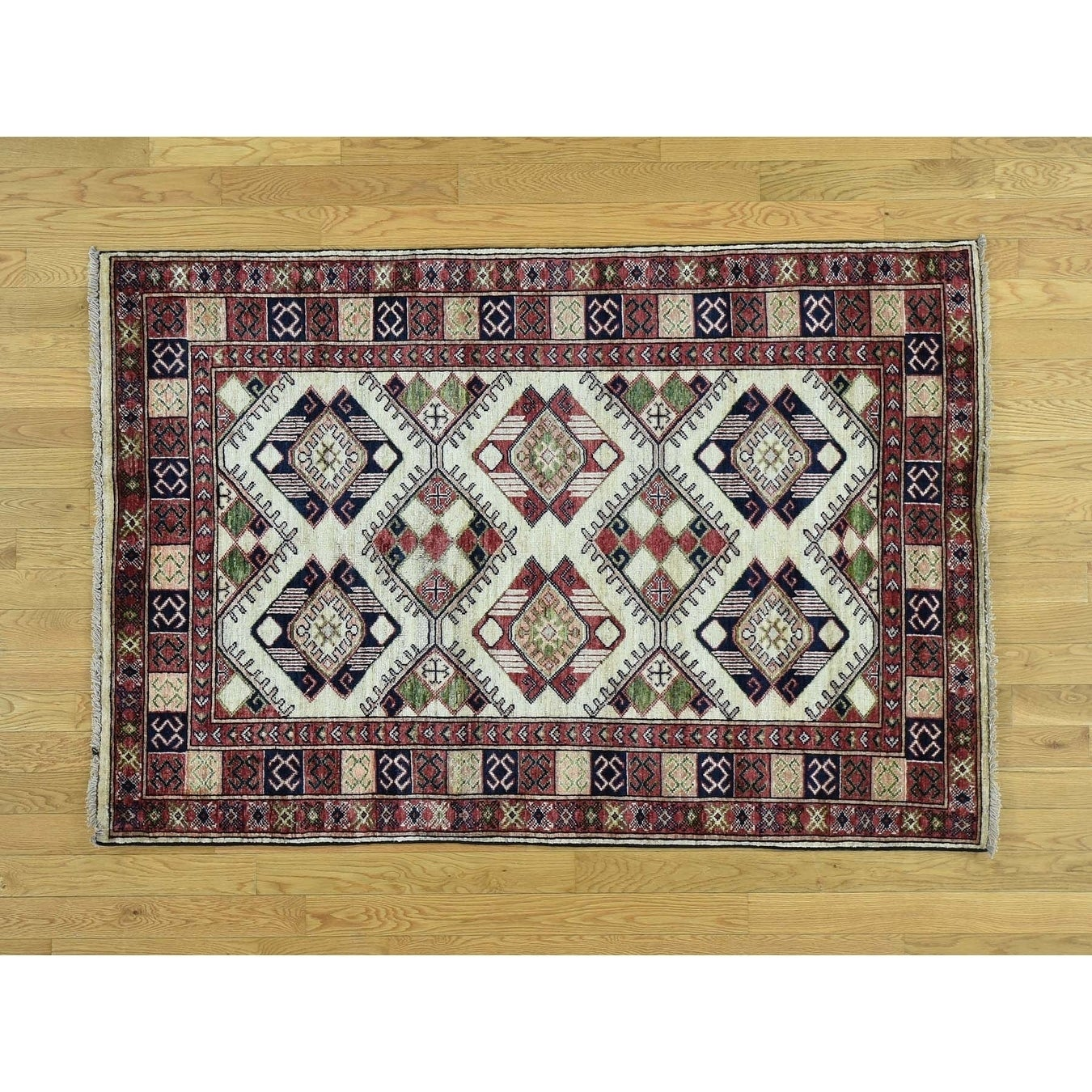 Hand Knotted Ivory Tribal & Geometric with Wool Oriental Rug - 41 x 6