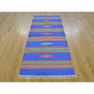 Hand Knotted Blue Flat Weave with Cotton Oriental Rug - 2'6 x 5'9