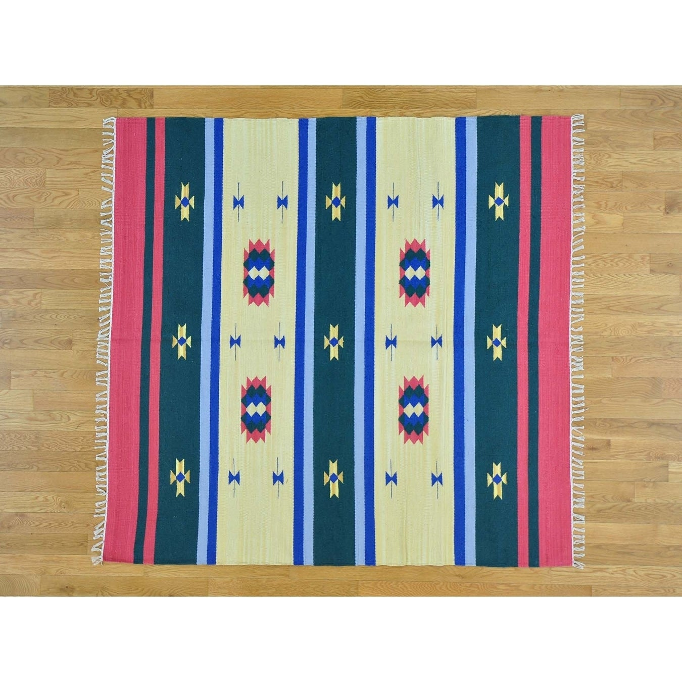 Hand Knotted Multicolored Flat Weave with Cotton Oriental Rug - 6 x 61