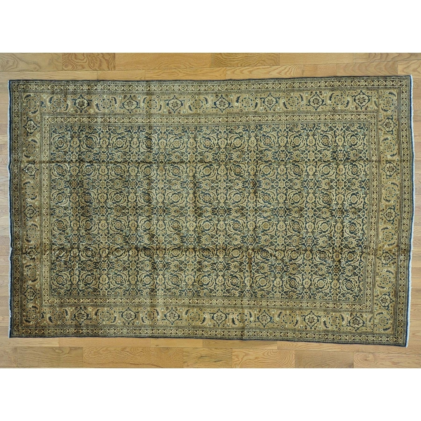 Hand Knotted Blue Antique with Wool Oriental Rug - 7 x 106